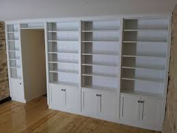 Bookcase Cabinet With Doors Interior White Painted Wooden Floor To Ceiling Modular Bookcase