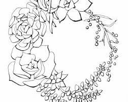 succulent line art etsy