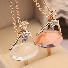 girl necklace chains images If you gold color sweater chain shiny crystal ballet girl pendant jpg