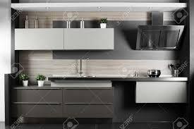 stylish kitchen interior of brand new modern and stylish kitchen stock photo modern