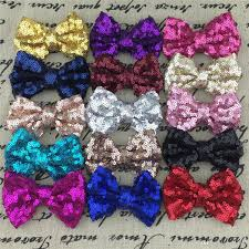 hair bows wholesale wholesale 3 sequin hairbows without alligator clip for baby girl