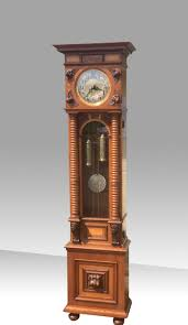 German Clocks Superb Burr And Walnut Inlaid Art Nouveau Antique Long Case