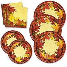 thanksgiving paper plates and napkins set for 50