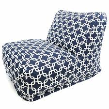 navy blue and white links lounger foam bean bag chair free shipping