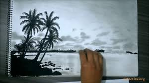 realistic island drawing with pencil charcoal guam youtube