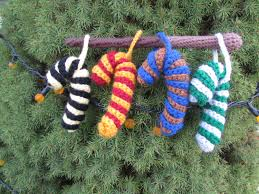 crocheted harry potter house colors candy cane ornaments