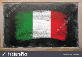 Flag Of Itali Flags Flag Of Italy On Blackboard Painted With Chalk Stock