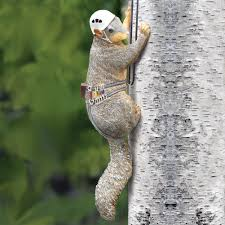 outdoor painted resin squirrel tree climber garden yard