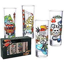 amazon com san francisco souvenir frosted shot glass set of 4