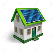 solar energy house symbol on a white background as a residential