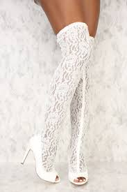 white lace white floral lace peep toe thigh high heel boots