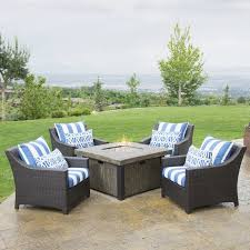 Fire Pit Tables And Chairs Sets - brayden studio wagaman 5 piece fire pit set with cushions