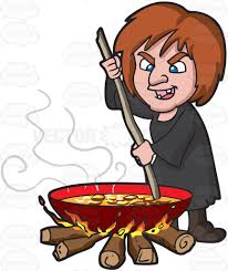 a witch stirring a mixture in a big pot over the fire cartoon