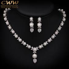 pearl necklace wedding jewelry images Cwwzircons elegant design big leaf drop bridal pearl necklace jpg