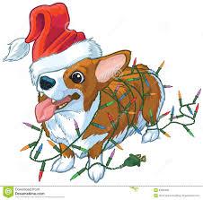 corgi dog with santa hat and christmas lights vector illustratio