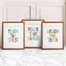 kids bathroom art 3 printables flush the by thecrownprints kid
