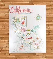 me a map of california vintage inspired california map print vintage inspired