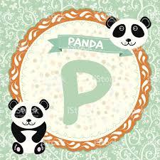 imagenes en ingles con la letra p abc animales p es panda alfabeto inglés para niños vector arte