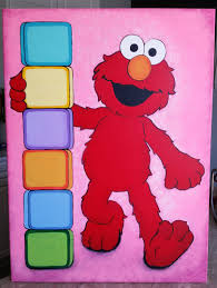 elmo painting elmo acrylic painting on canvas 18 x 24 inches for a