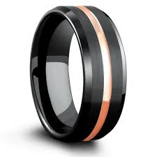 mens black tungsten wedding bands 8mm mens black tungsten wedding band with gold center