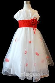 white red pageant children kids wedding flower girls gown party