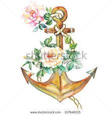 watercolor golden anchor roses flowers design stock illustration