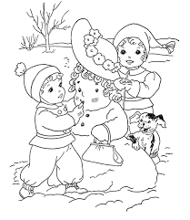 kids build snowman coloring pages to print winter coloring pages