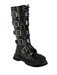 s boots with buckles knee high buckle steunk combat lace up biker