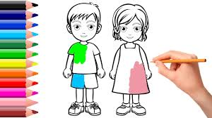 how to coloring kids and boy learning coloring book for