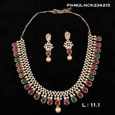 stone necklace set designs images Zercon cz stones with ruby emerald collection designer necklace jpg
