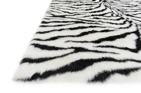 Gray Accent Rug Zebra Faux Fur Shag Accent Rug 2 X 3 Ft At Home At Home