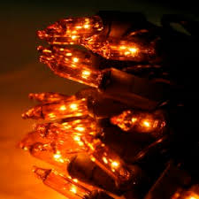 orange christmas lights on black wire 50 bulbs