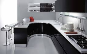 Curved Kitchen Cabinets by Beautiful Curved Kitchen Design With Cabinets And Simple Chairs
