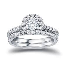overstock bridal sets auriya 14k gold 1ct tdw diamond halo bridal ring set free