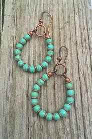 turquoise hoop earrings copper and turquoise handmade jewelry