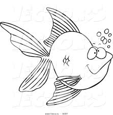 vector of a cartoon goldfish with bubbles outlined coloring page