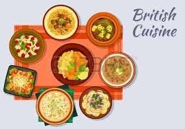 britische küche britische küche schild mit fisch und pommes speck salat und