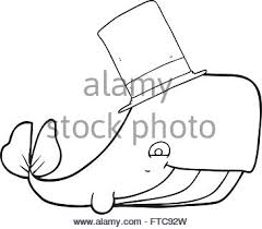 freehand retro cartoon whale in top hat stock vector art
