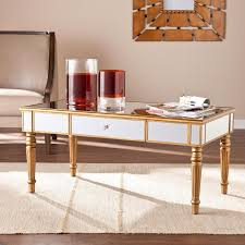 Upton Home Coffee Table Home Chagne Gold Fontaine Mirrored Cocktail Coffee Table