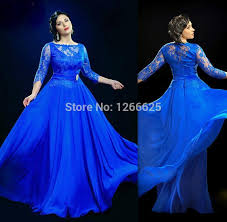cheap formal royal blue sheer evening dresses with 3 4 sleeve long