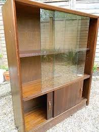 Wooden Cabinet With Glass Doors Vintage Wooden Display Cabinet Bookcase With Glass Sliding