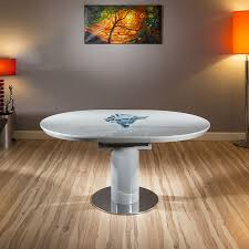 modern dining table grey gloss round oval extending 1200 1600mm