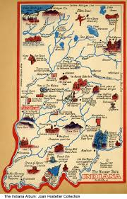Clifty Falls State Park Map by Tourism Map Of Indiana 1947 Artist U0027s Map Of Indiana Showing
