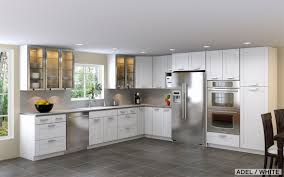 white cabinetry with grey granite countertop also ceramic flooring