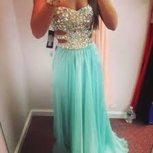 dress prom dress rhinestones rhinestones dress turquoise