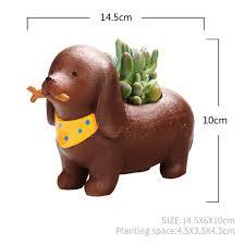 cute dachshund dog standing resin succulent pot mybageecha