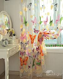 Sheer Curtains Grommet Top Decoration Beautiful Butterflies Printing Romantic Style Blending