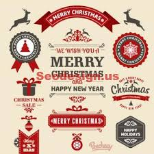 15 free retro christmas vector stickers download