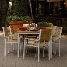 Wooden Patio Dining Set Travira Aluminum And Teak Outdoor Dining Set 7 Og Tvcht7set