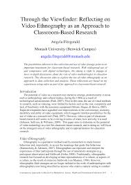 how to write an ethnographic research paper through the viewfinder reflecting on video ethnography as an through the viewfinder reflecting on video ethnography as an approach to classroom based research pdf download available